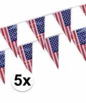 Amerikaanse 5x stuks vlaggenlijnen amerika usa kopen