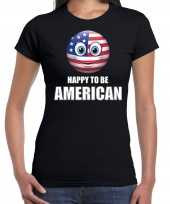 Amerikaanse amerika emoticon happy to be american landen t shirt zwart dames kopen