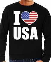 Amerikaanse i love usa sweater trui zwart voor heren kopen
