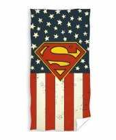 Superman badlaken strandlaken met amerikaanse vlag 70 x 140 cm kopen